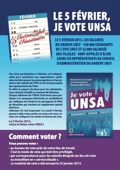Elections conseil d'administration du groupe SNCF 2013 je-vote-unsa