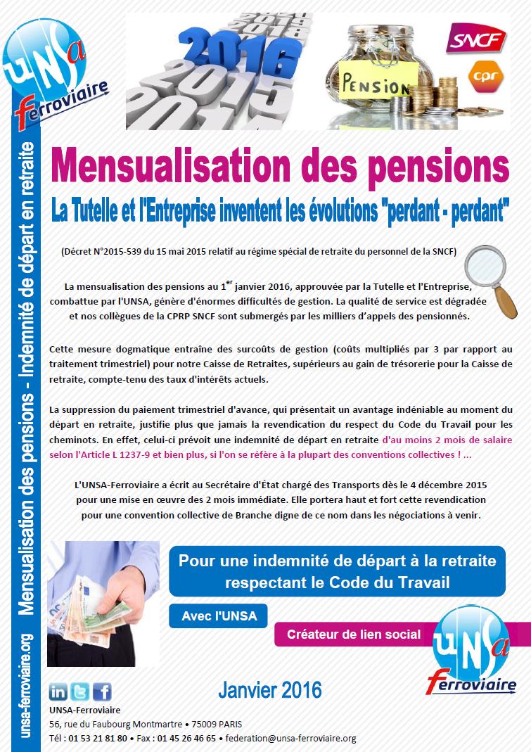 Mensualisation des pensions